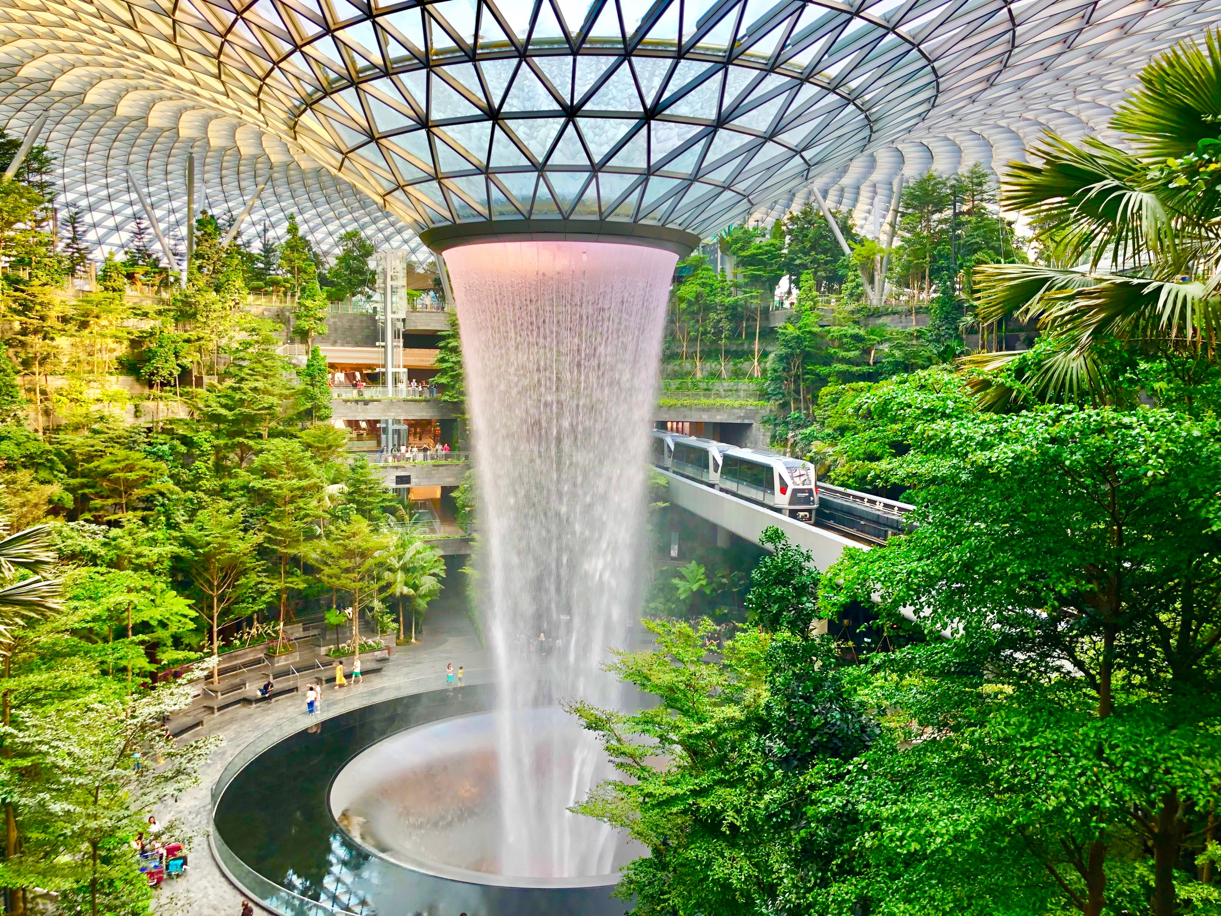 Singapore Airport tallest indoor waterfall at the Jewel in Changi Airport