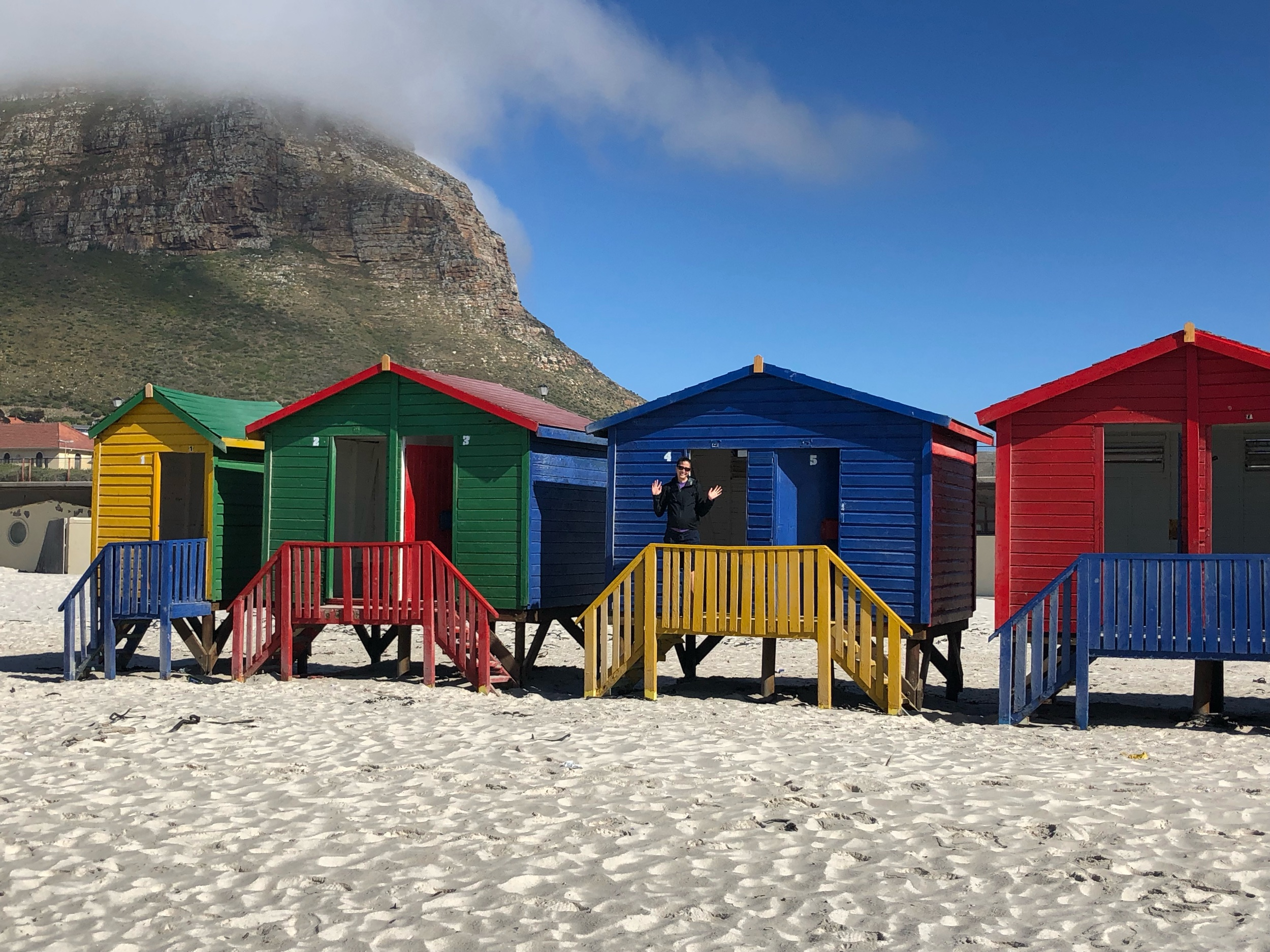 Muizenburg beach colorful changing rooms