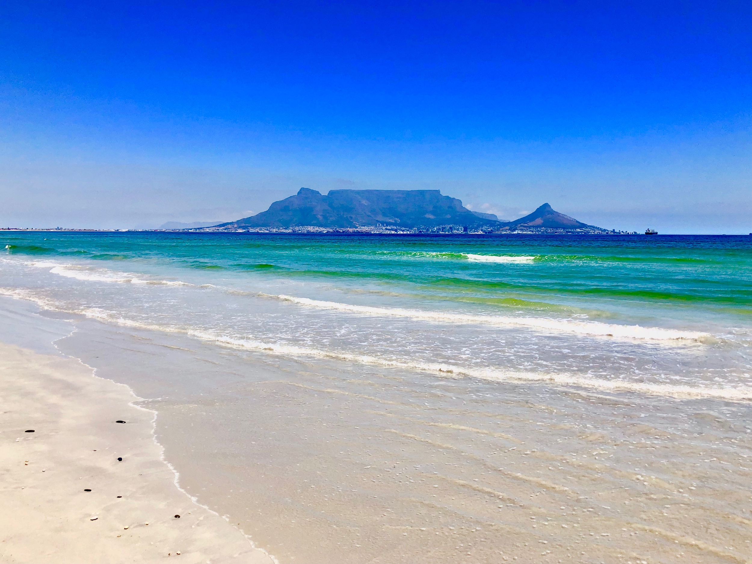 Table Mountain view from Dolphin Beach