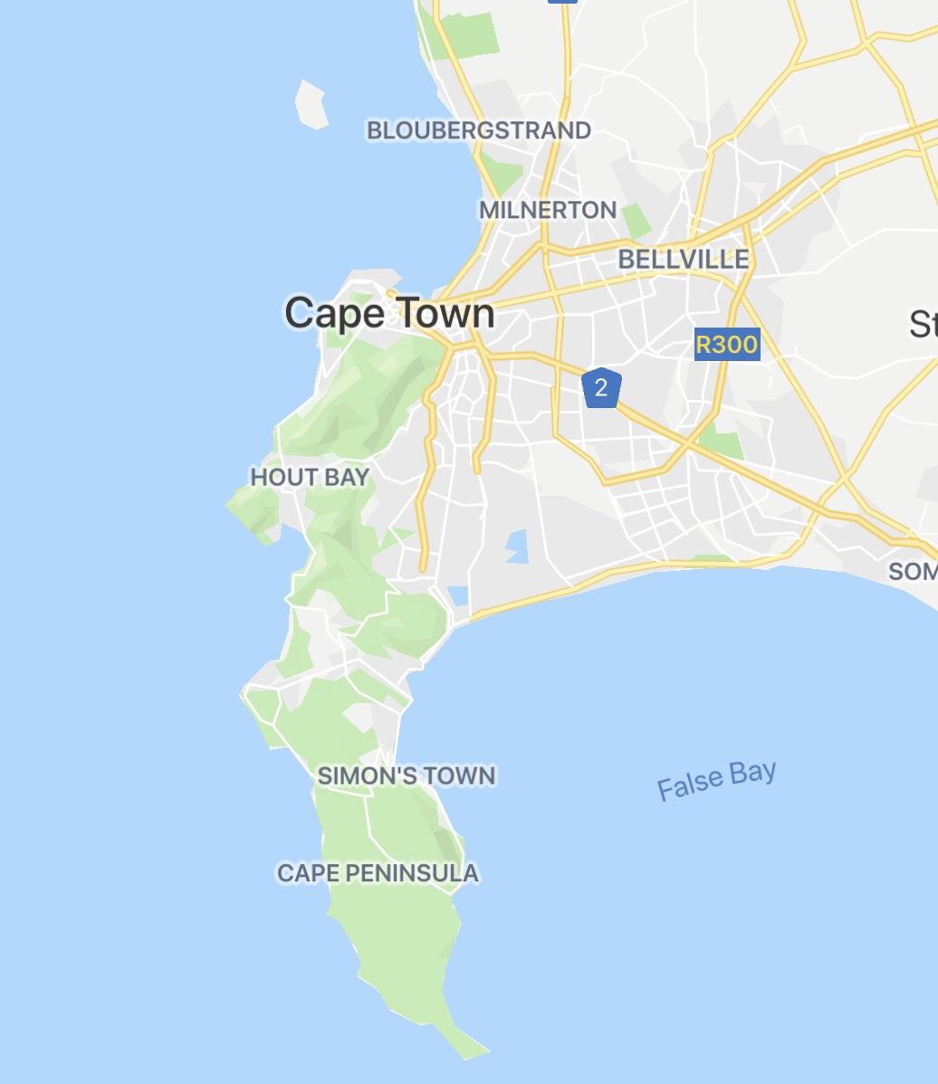 Cape Town South Africa Map Overview