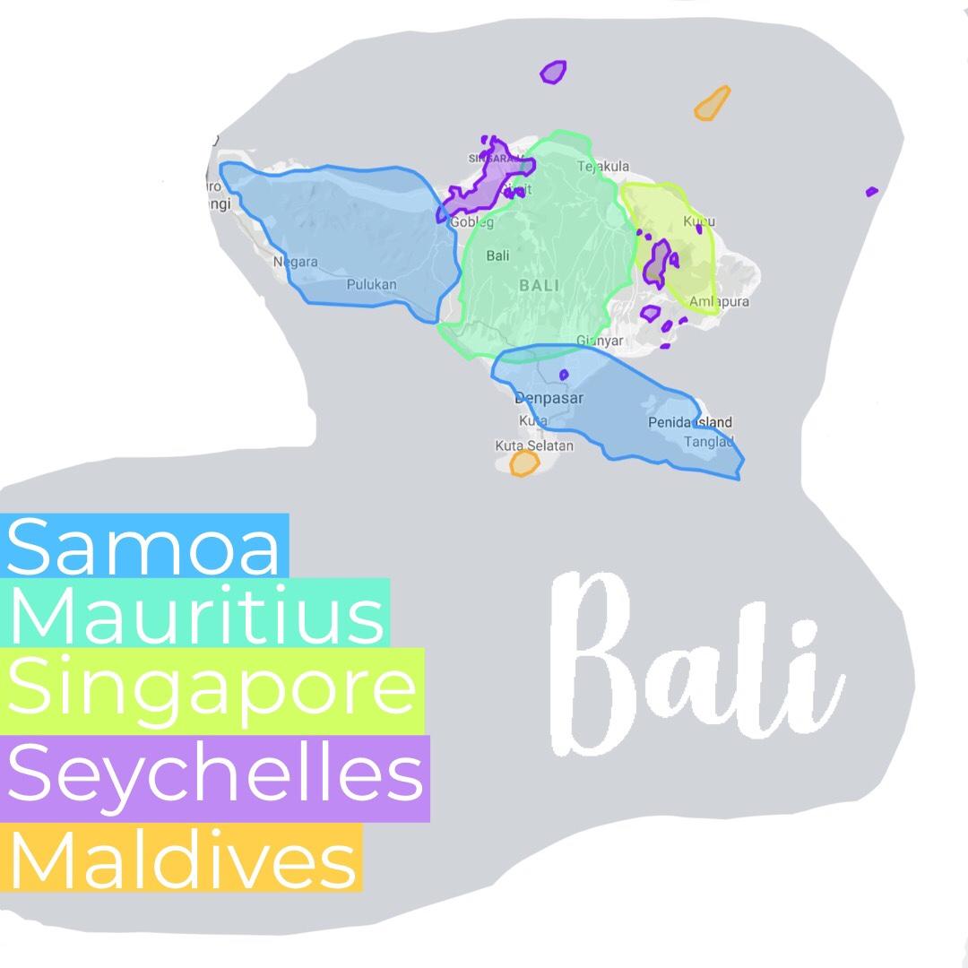 Bali vs. Samoa, Mauritius, Singapore, Seychelles, Maldives