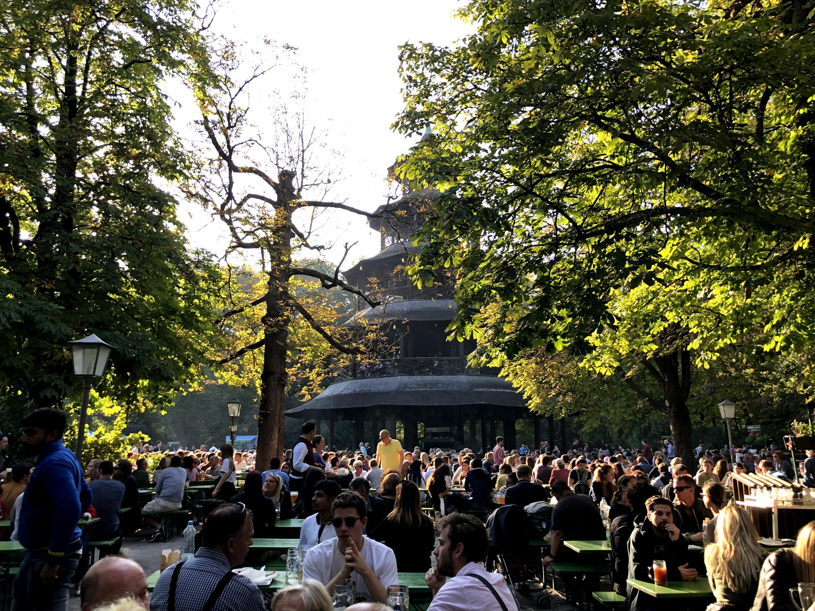 Beer Garden next to The Chinese Tower in the Munich English Garden