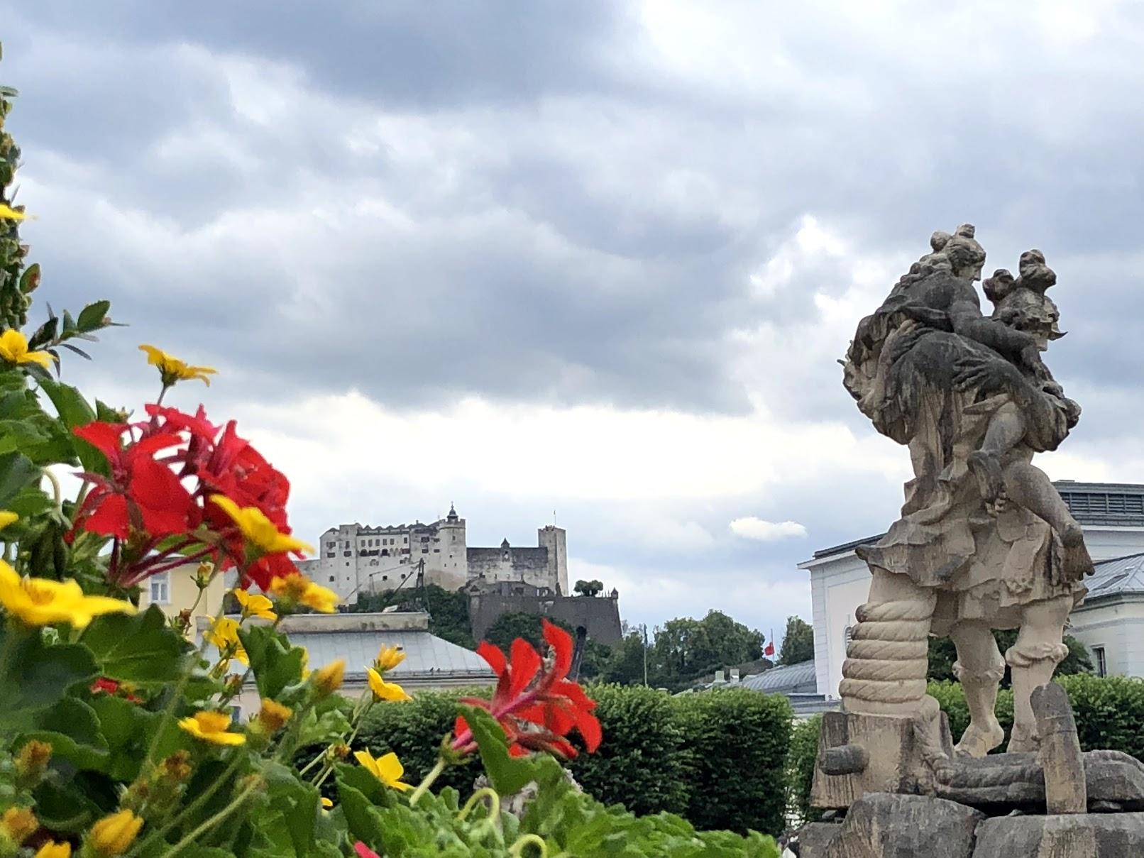Flowers and statue in garden - Salzburg