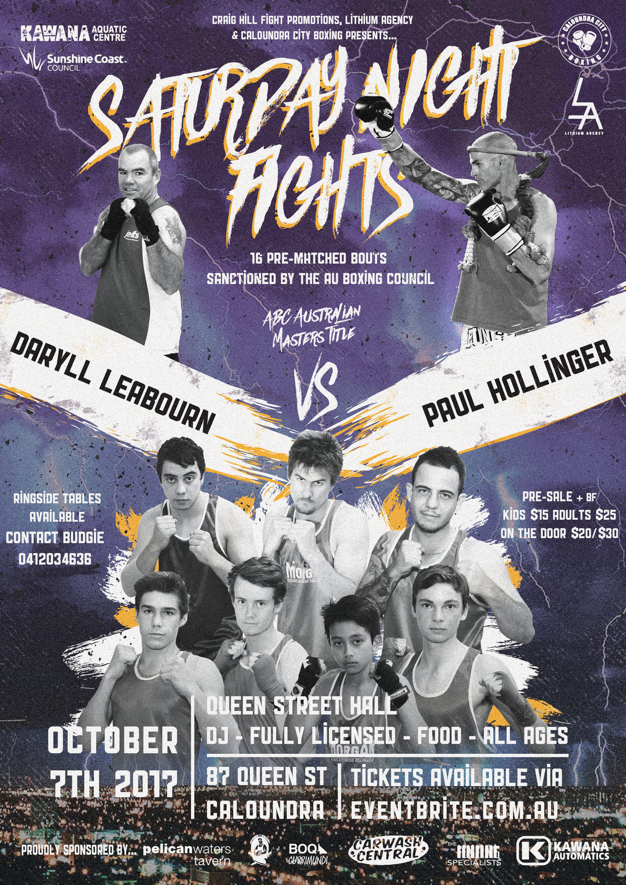 Saturday Night Fights - recent event October 7 - 16 prematched bouts - 3 x AU titles   more fight nights to come + more in the new year SC - BNE.