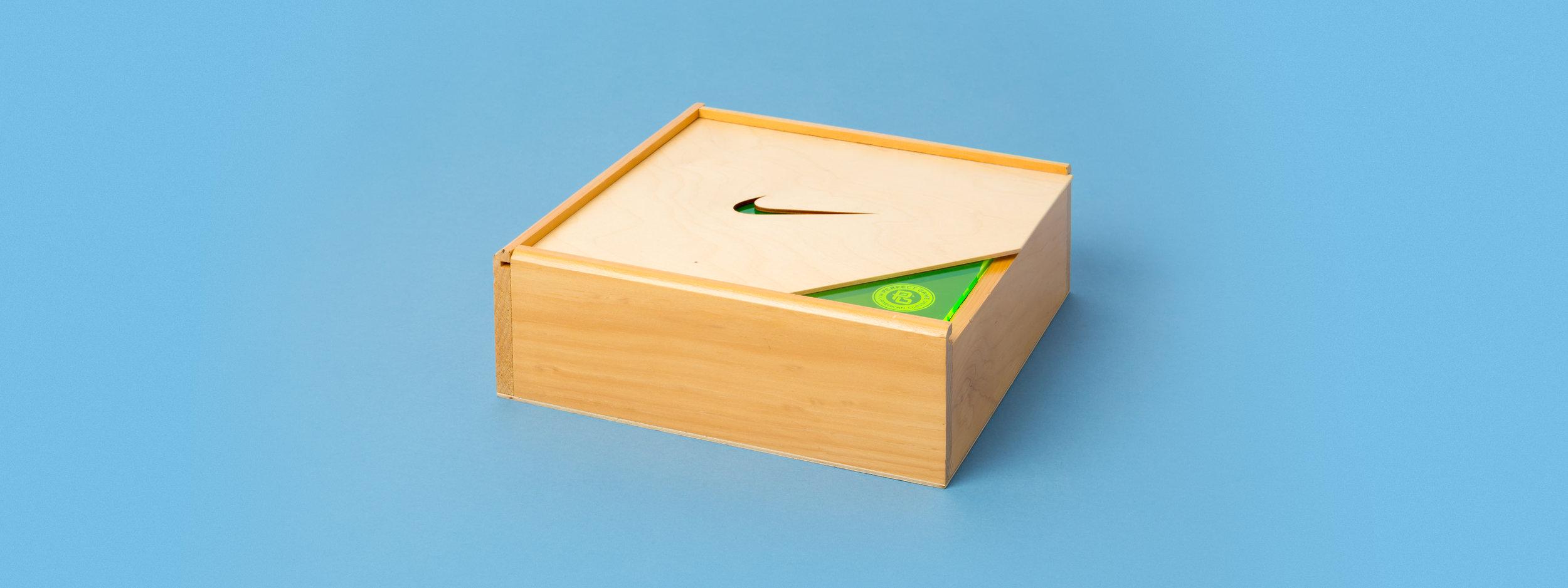 Laser engraved box, laser cut box, nike seeding kit, custom fabrication, portland