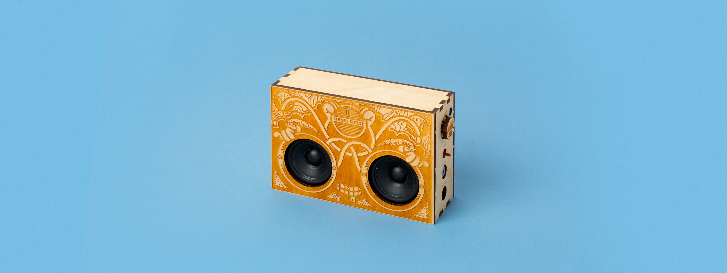 laser cut wood, laser engraved wood, finger joint box, boom box, blue tooth