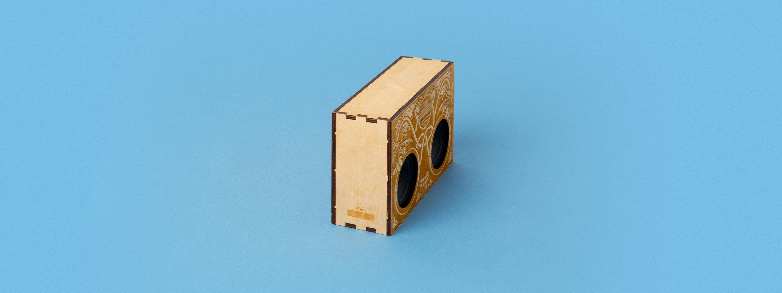 laser cut wood, laser cut box, boom box, finger joint, custom fabrication, portland, OR, Bluetooth