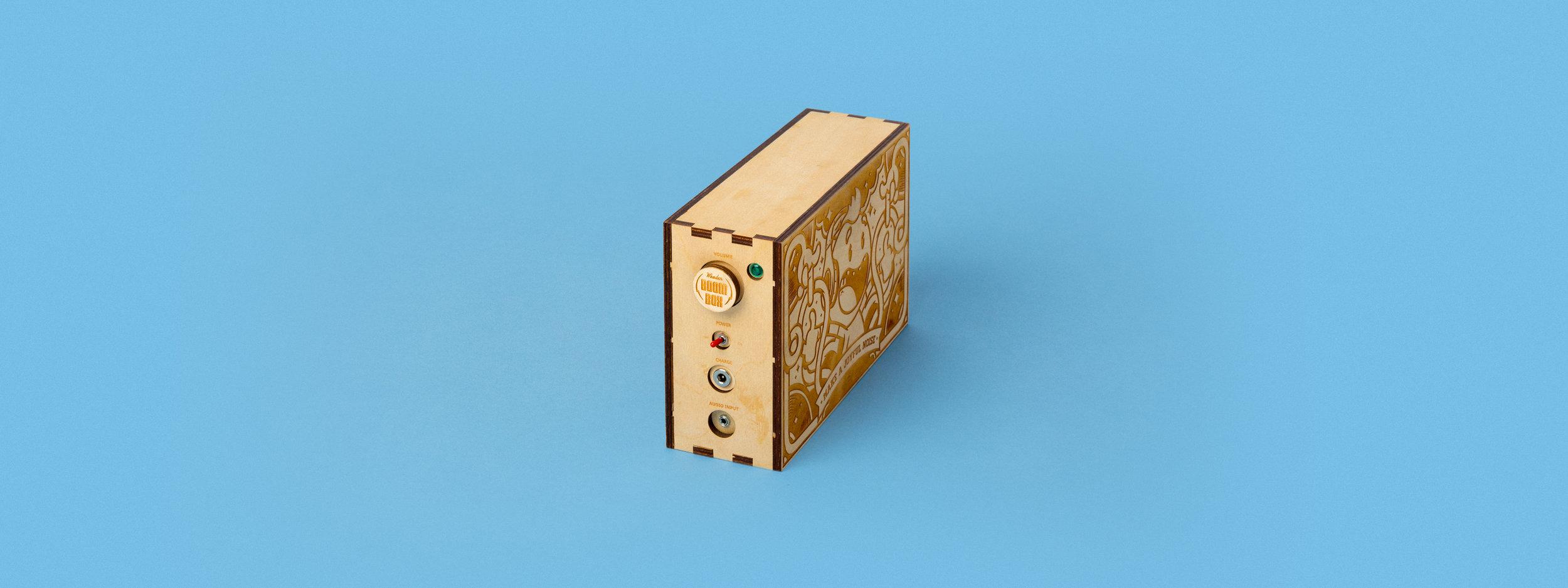 laser cut wood, laser cut box, boom box, finger joint, custom fabrication, portland, engraved artwork