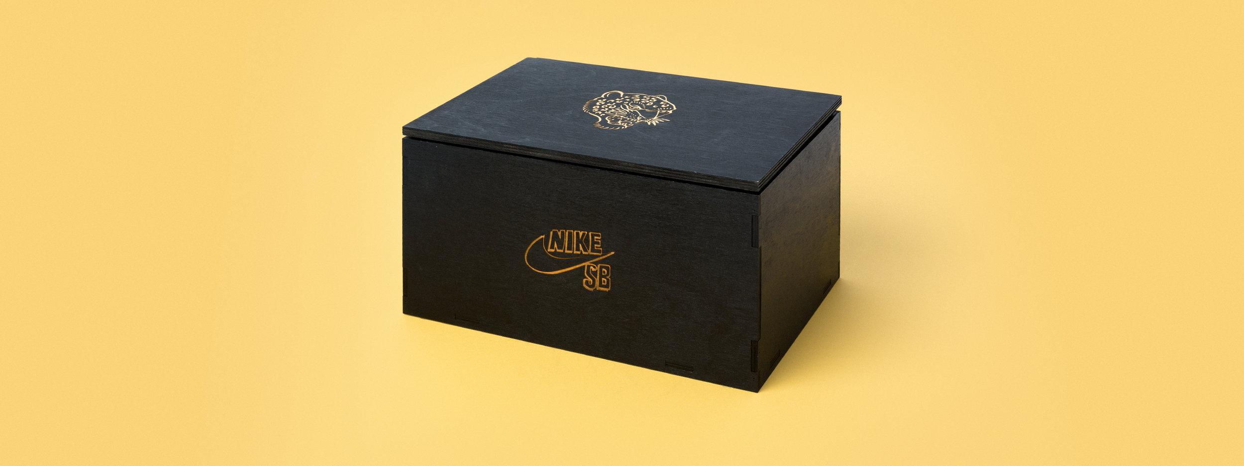 nike sb, brain anderson, seeding kit, shoe box, laser engraved acrylic, laser cut acrylic