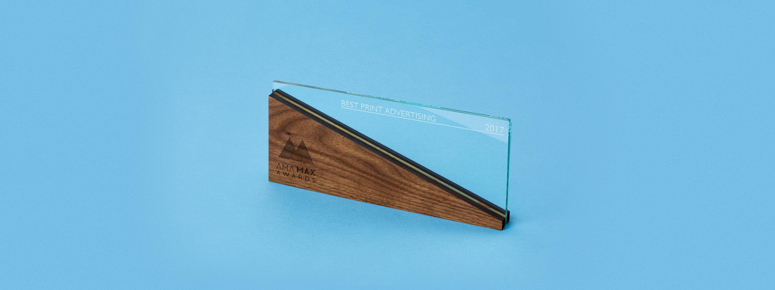 custom award, trophy, design, laser cut acrylic, laser cut wood, engraved wood, engraved green edge acrylic, portland, OR