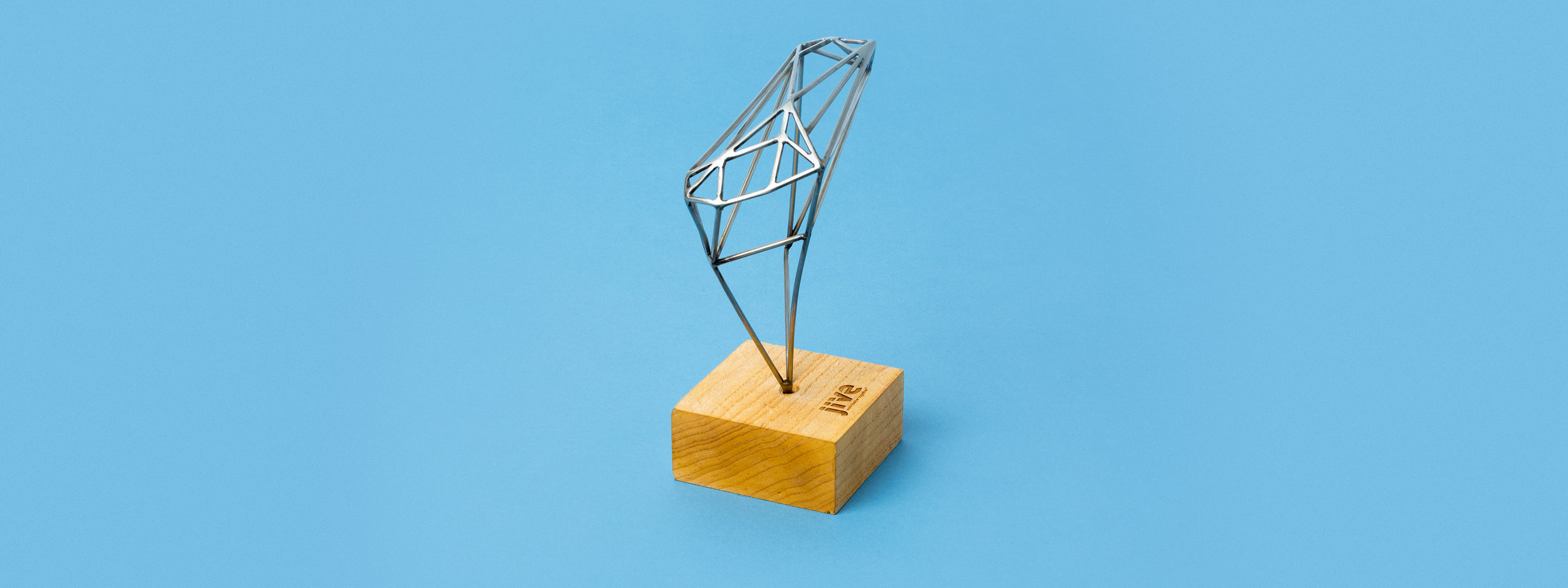 custom award, trophy, design, laser cut acrylic, laser cut wood, engraved wood, welded steel, portland, OR, jive