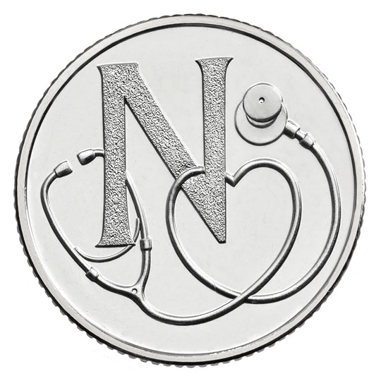 10p coin marking the role of the NHS in making Britain great