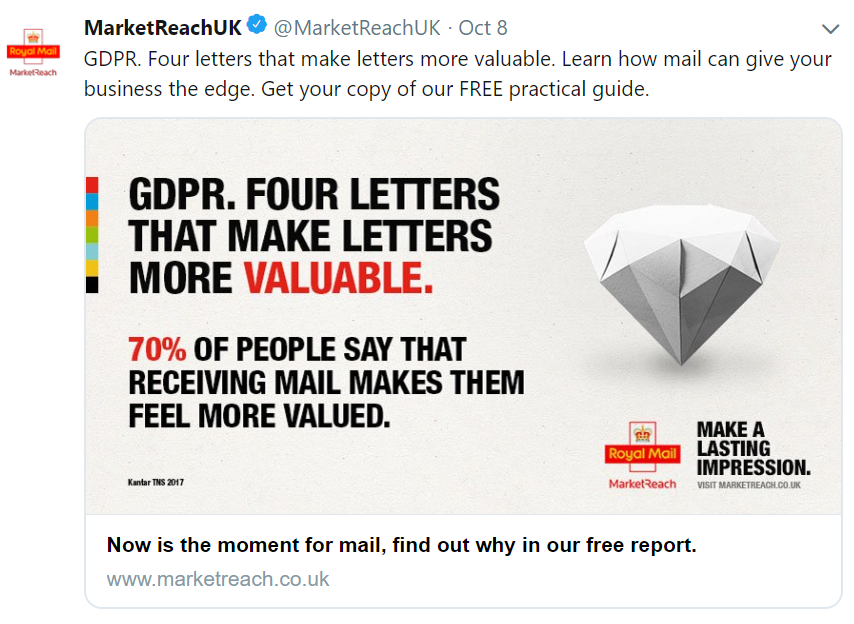 AND I LOVE IT. - GDPR has given many challenges to marketeers recently. A huge cull of data means email marketing is less effective, and sometimes too risky to do.There are two major ways I recommend to combat data issues, one is absolutely direct mail, but the other is social media.