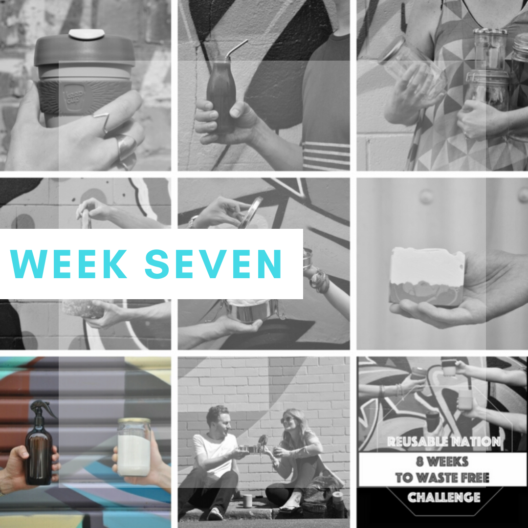 """Week Seven: Start cleaning the natural way - As with your beauty routine, begin finding more sustainable, package-free alternatives for your cleaning routine as the products that you have been using are finished.Start exploring the options available – what you can buy in bulk and what you can make yourself – and cut out any cleaning products you can do without.Again, avoid buying anything in plastic packaging especially and buy what you can in bulk in your own containers, for example washing powder in a glass jar or the box that your previous washing powder came in and multipurpose cleaning solution in a reusable spray bottle.Also, seek out more natural, less harmful products. As with your beauty products, it is important to do your research as to which natural alternatives still actually do a good job though.This is especially the case when making DIY cleaning solutions, as there is debate about whether some actually work, like soap nuts, for example, the use of which is heavily debated (read our blog post on these controversial nuts before buying them).This week's mantra:""""Is there a natural alternative?"""""""
