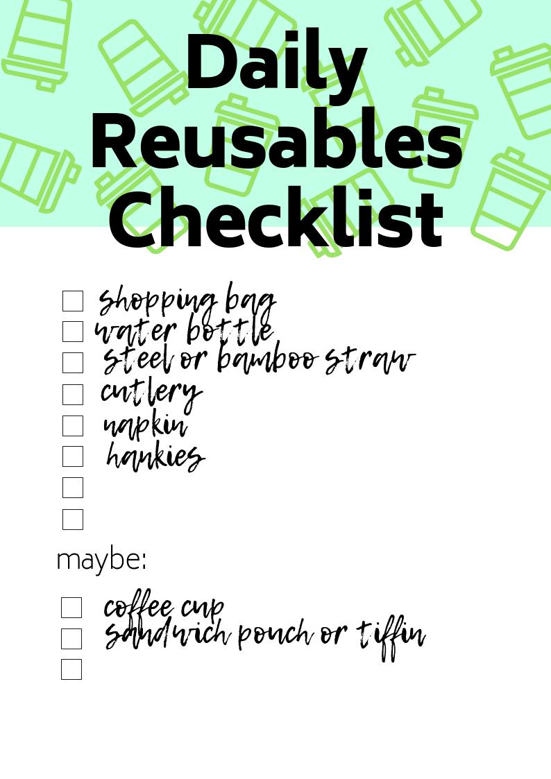Reusable Nation - daily reusables checklist