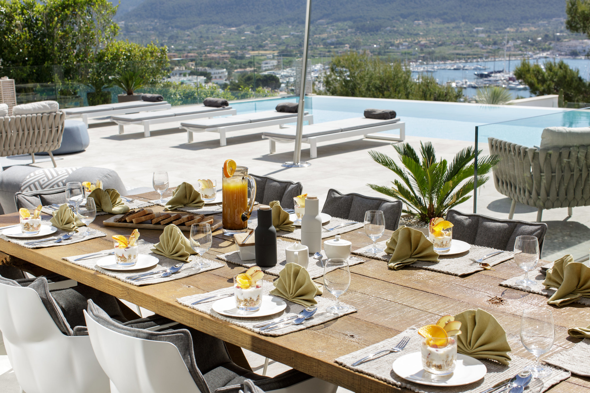 - Breakfast at Villa Infinitum is the perfect way to start the day, either on the pool or roof terrace looking out into the port. Cooked and continental breakfast is included in the rental price.