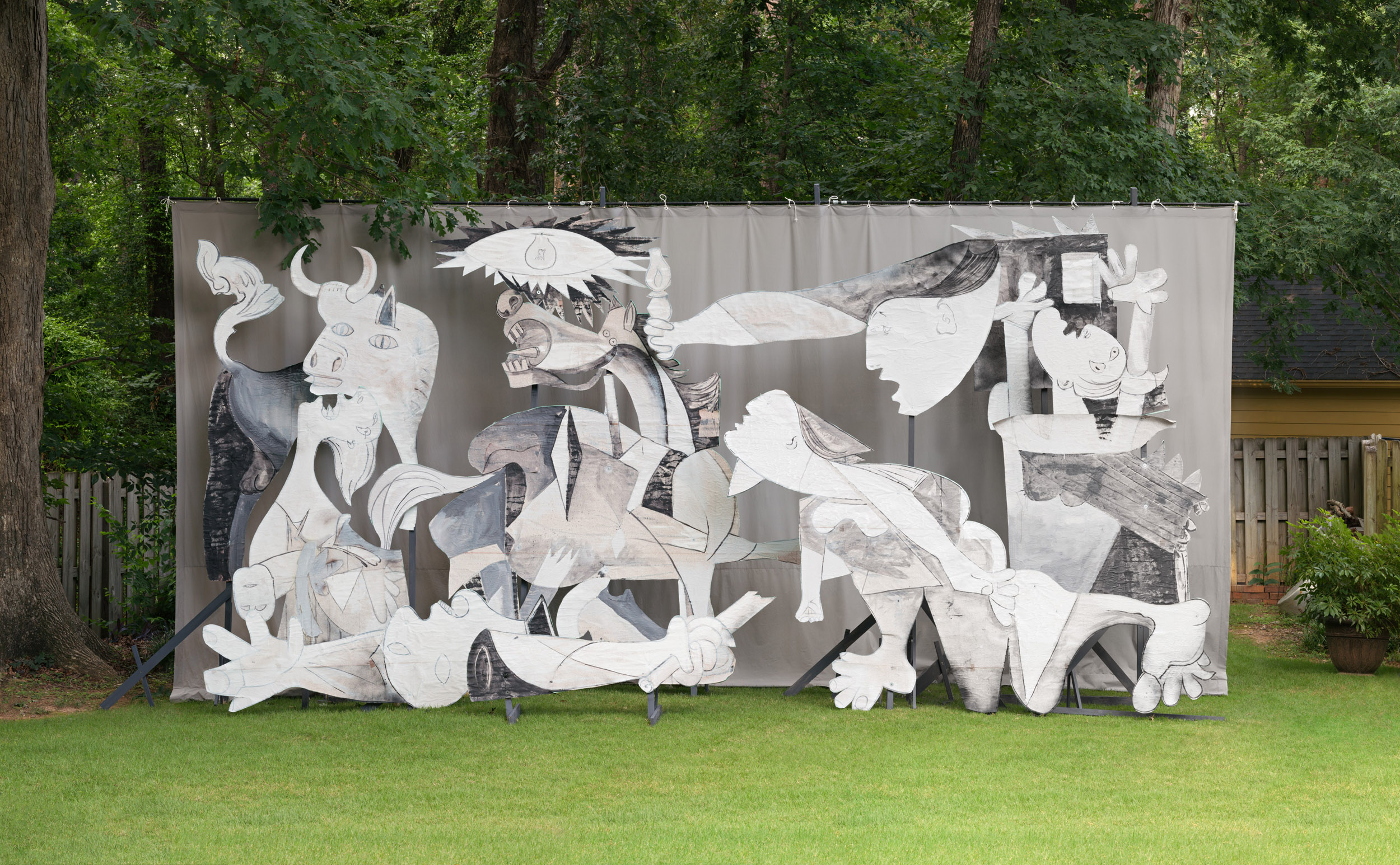 Backyard Guernica (Georgia) 1  2017, archival pigment print 86.5 x 140 cm / 34 x 55 in. Edition of 5 173 x 279 cm / 68 x 110 in. Edition of 2
