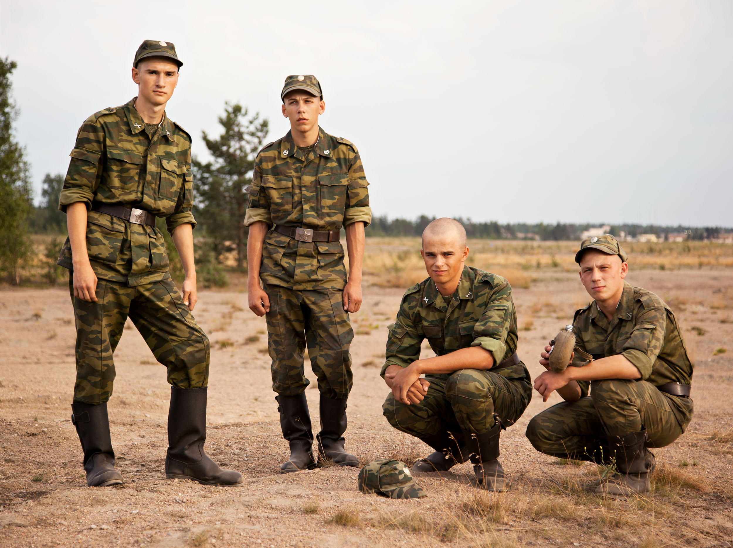 Young Soldiers at Training Ground  2011, archival pigment print 100 x 134 cm / 39.5 x 53 in. Edition of 5