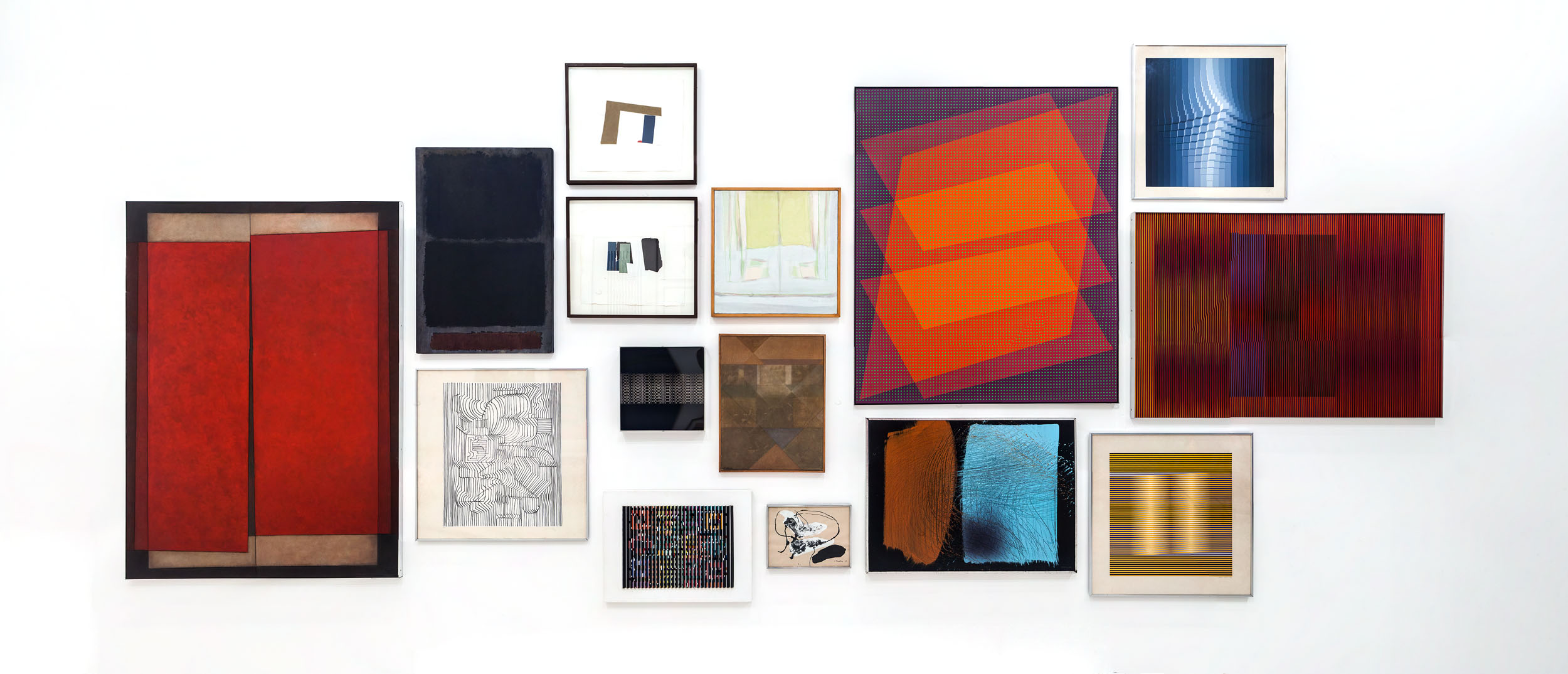 Documentation of wall B as it was during shooting. All artworks selected from the permanent collection of the Museo Tamayo. The two paintings in the middle were replaced by the screen for the installation