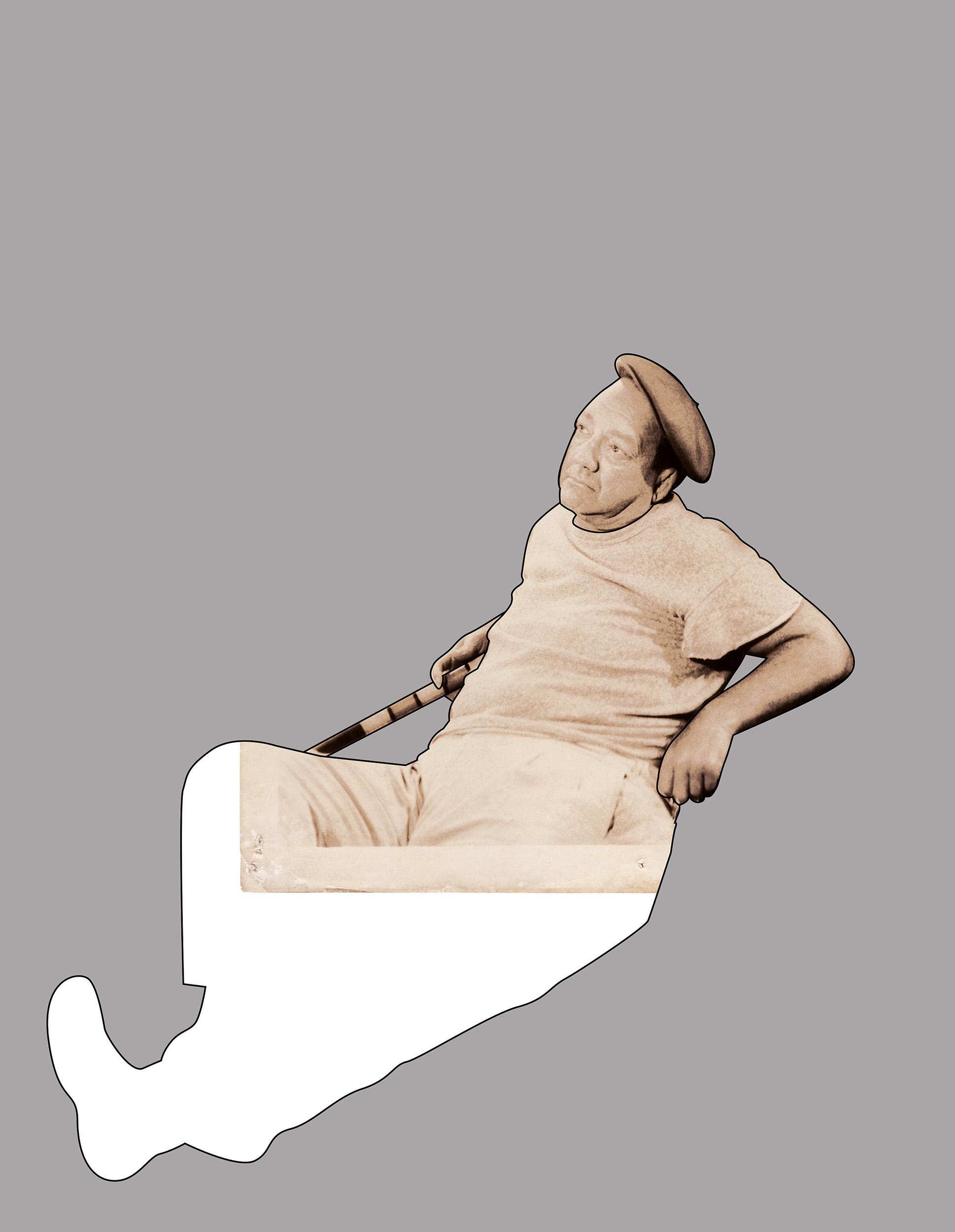 Reclining Man  2005, colour photograph,76 x 58 cm / 30 x 23 in.