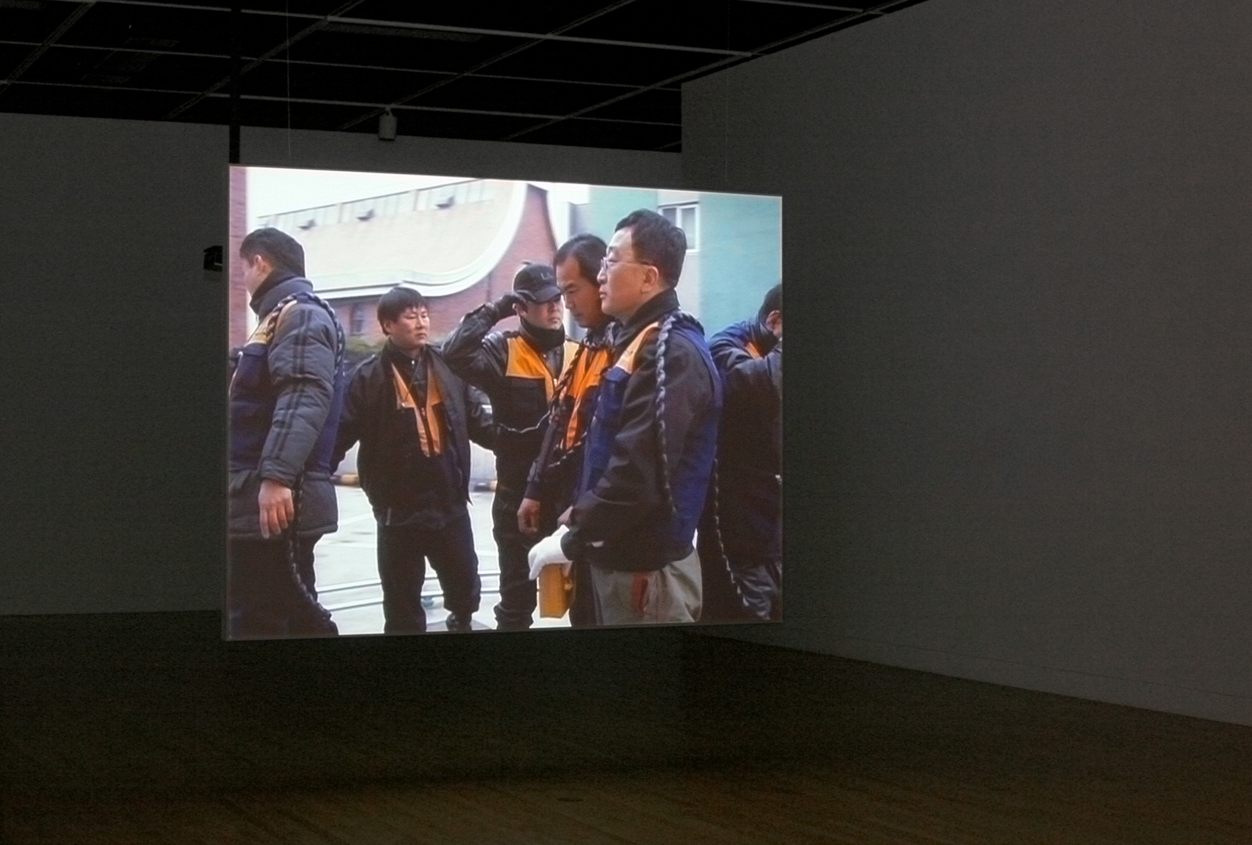 Burghers of Seoul , View of suspended screen looking West, Leonard and Bina Ellen Gallery, 2007