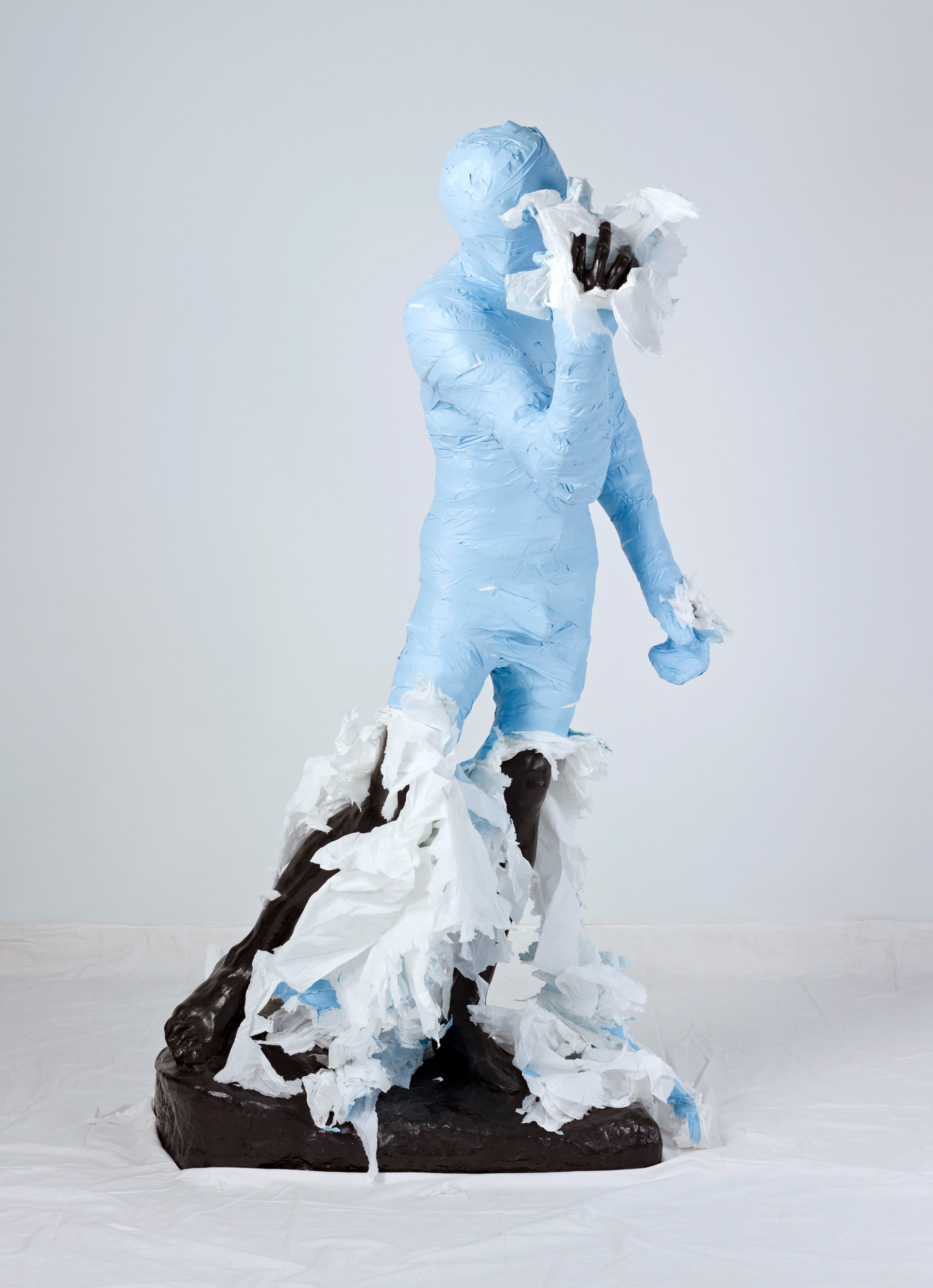 Unwrapping Rodin (Blue) 4   2010, colour photograph 175 x 127 cm / 69 x 50 in. Edition of 2