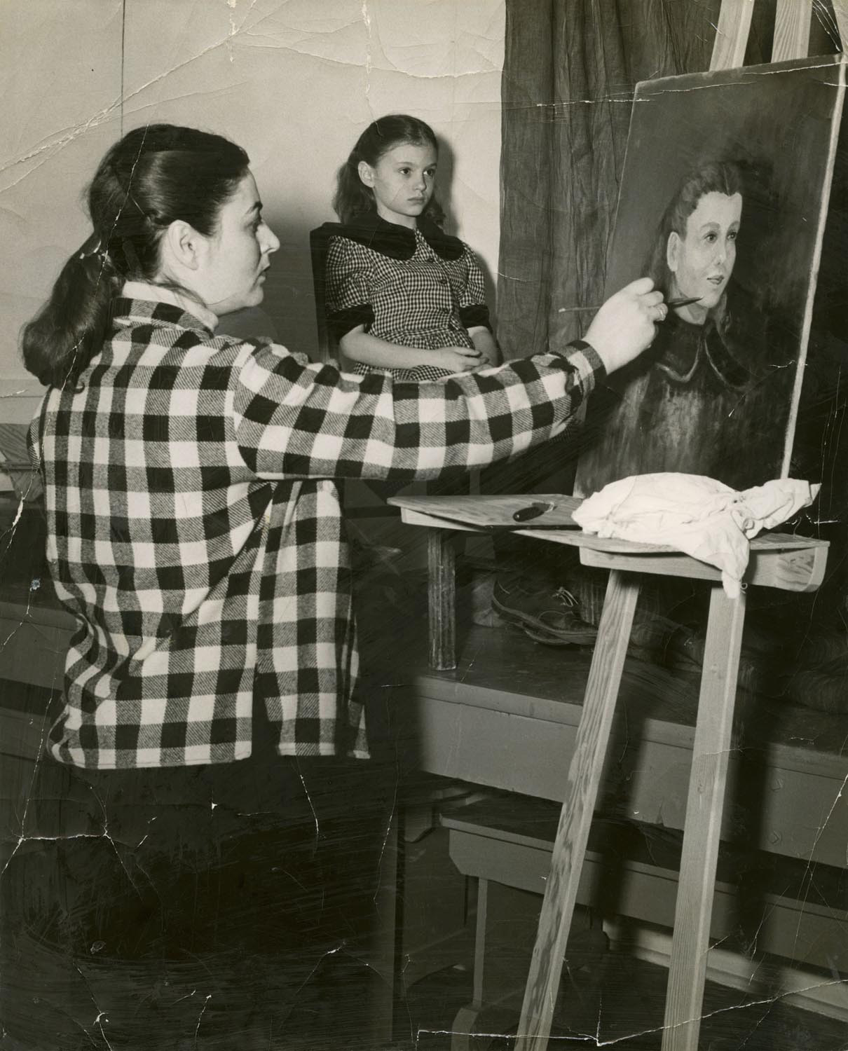 Original photograph from 1953 showing Sally Gross (the artist's grandmother) painting a portrait of her daughter Barbara Hannah (the artist's mother)