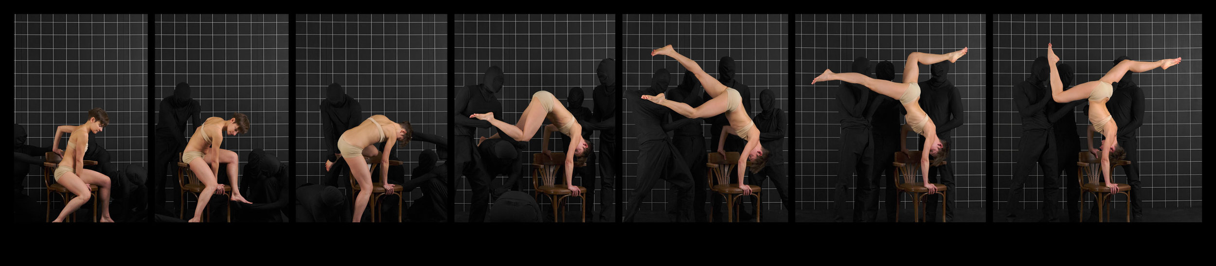 """After Muybridge (Handstand With Chair)  2016, archival pigment print 24 x 110.5 cm (9.5"""" x 43.5"""")  48 x 221 cm (19"""" x 87"""")  Editions of 2"""