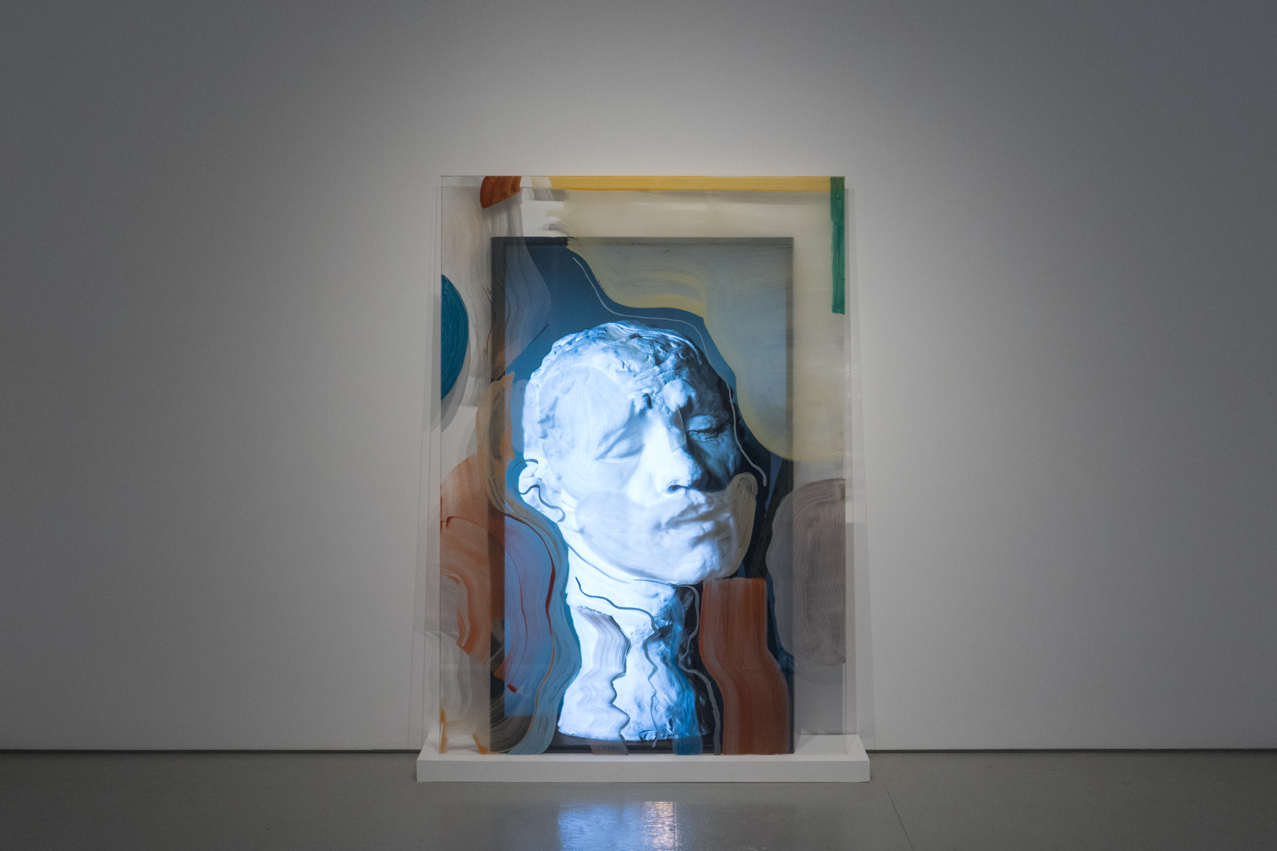 """Rodin Reworked 2  2018, 4k video, 5 min 02s. 70"""" screen with 70"""" x 49"""" hand-painted glass panel"""