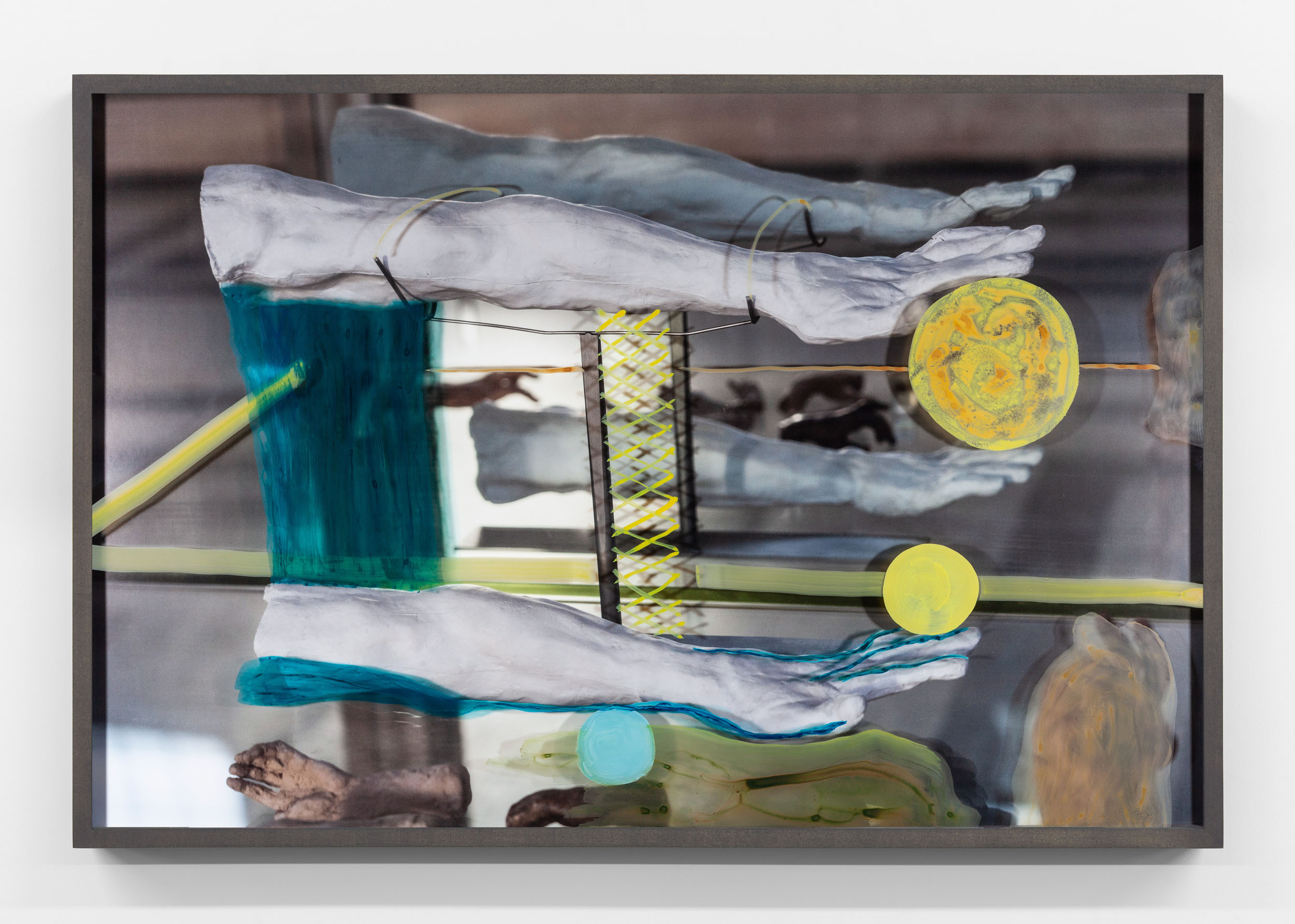 Untitled (Two arms in a mirror) 2019, hand-painted museum acrylic over archival pigment print 61 x 91.5 cm / 24 x 36 in. Unique work