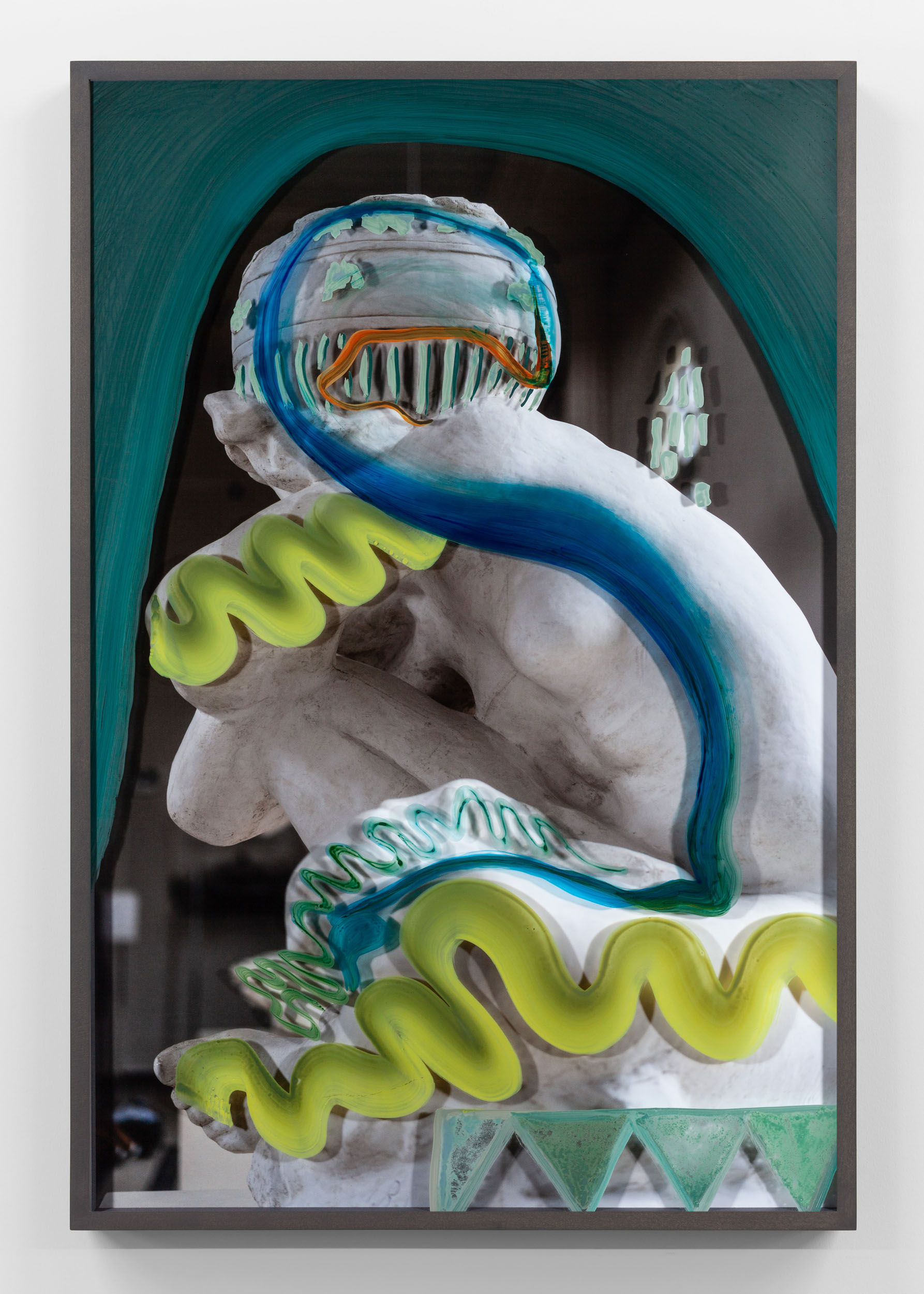 Unitlted (Fallen Caryatid with lime strokes) 2019, hand-painted museum acrylic over archival pigment print 91.5 x 61 cm / 36 x 24 in. Unique work