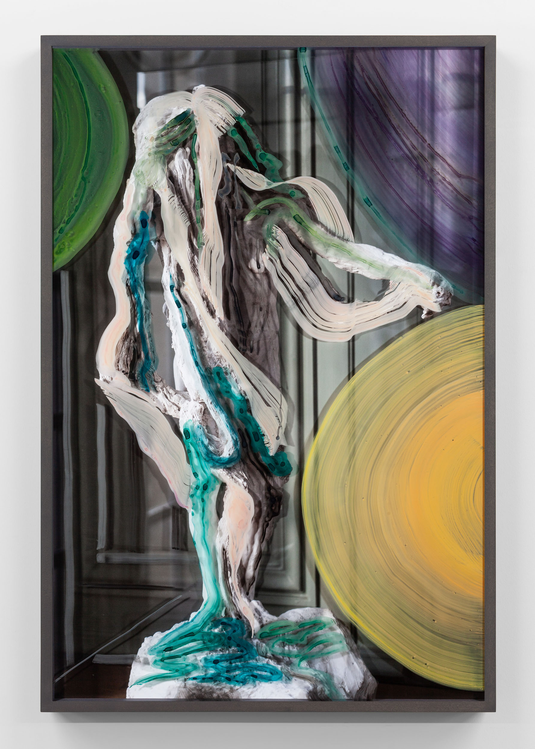 Unitlted (Woman with rags and yellow and green orbs) 2019, hand-painted museum acrylic over archival pigment print 91.5 x 61 cm / 36 x 24 in. Unique work