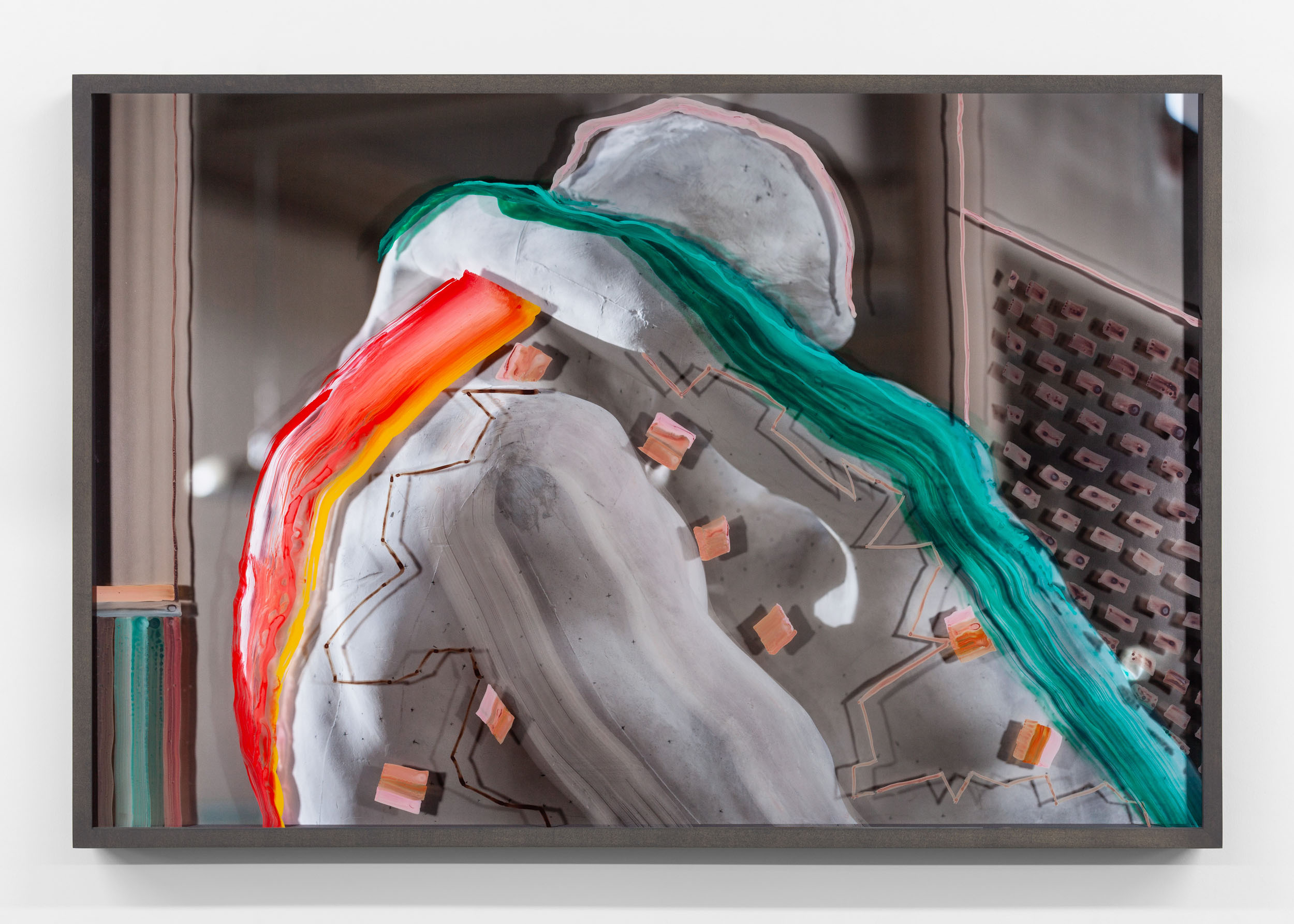 Untitled (The Kiss with red and green strokes) 2019, hand-painted museum acrylic over archival pigment print 61 x 91.5 cm / 24 x 36 in. Unique work
