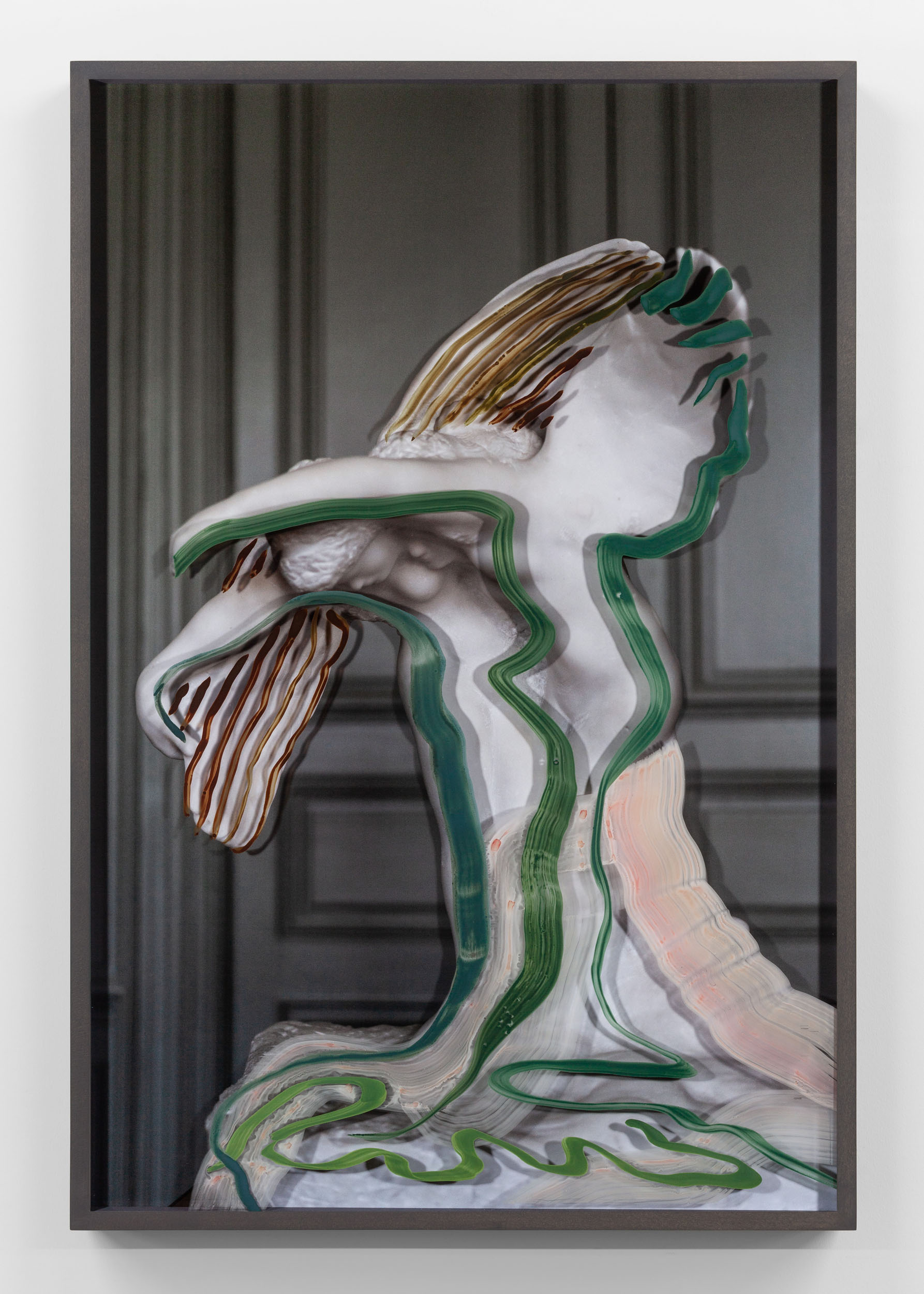 Untitled (The Benedictions with green strokes) 2019, hand-painted museum acrylic over archival pigment print 91.5 x 61 cm / 36 x 24 in. Unique work
