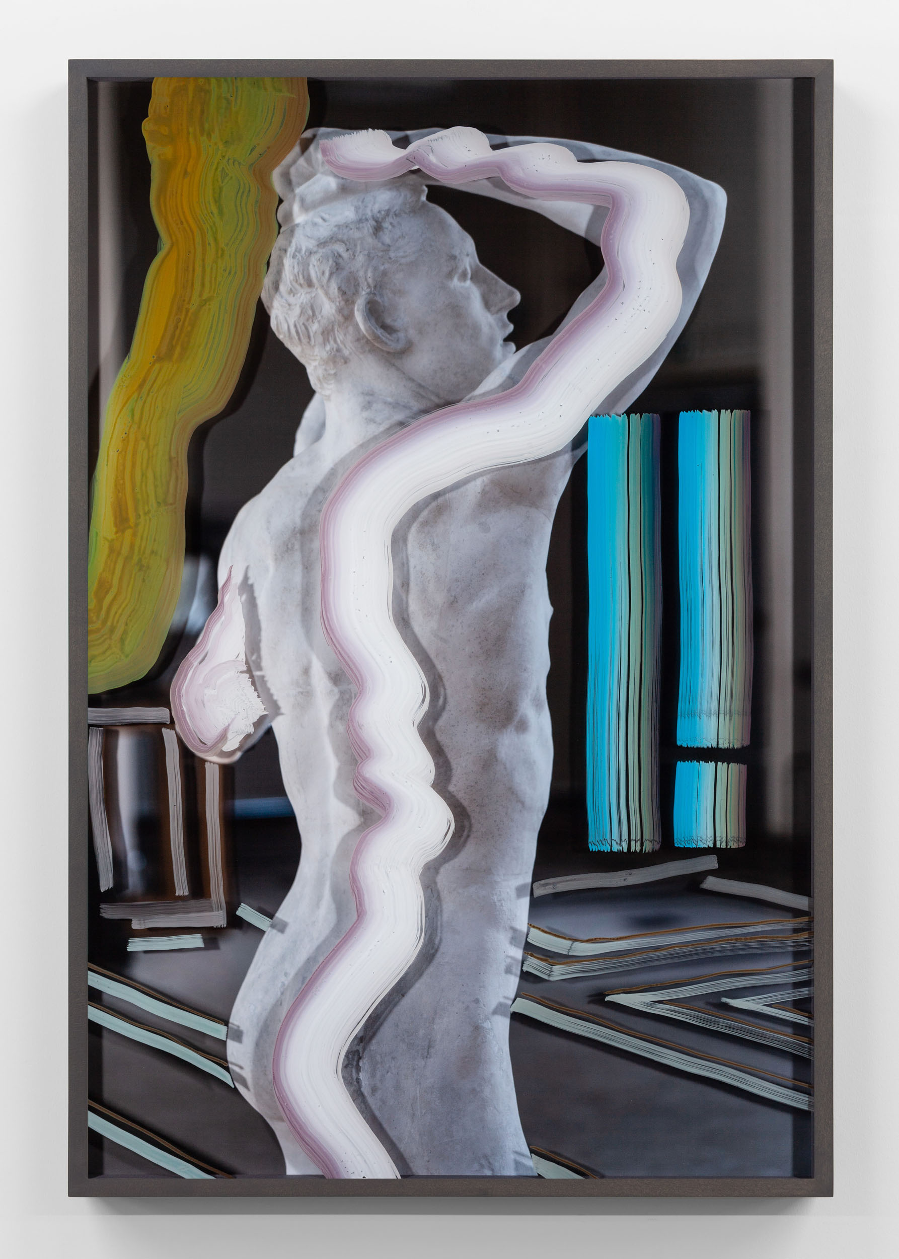 Untitled (Age of Bronze right side) 2019, hand-painted museum acrylic over archival pigment print 91.5 x 61 cm / 36 x 24 in. Unique work