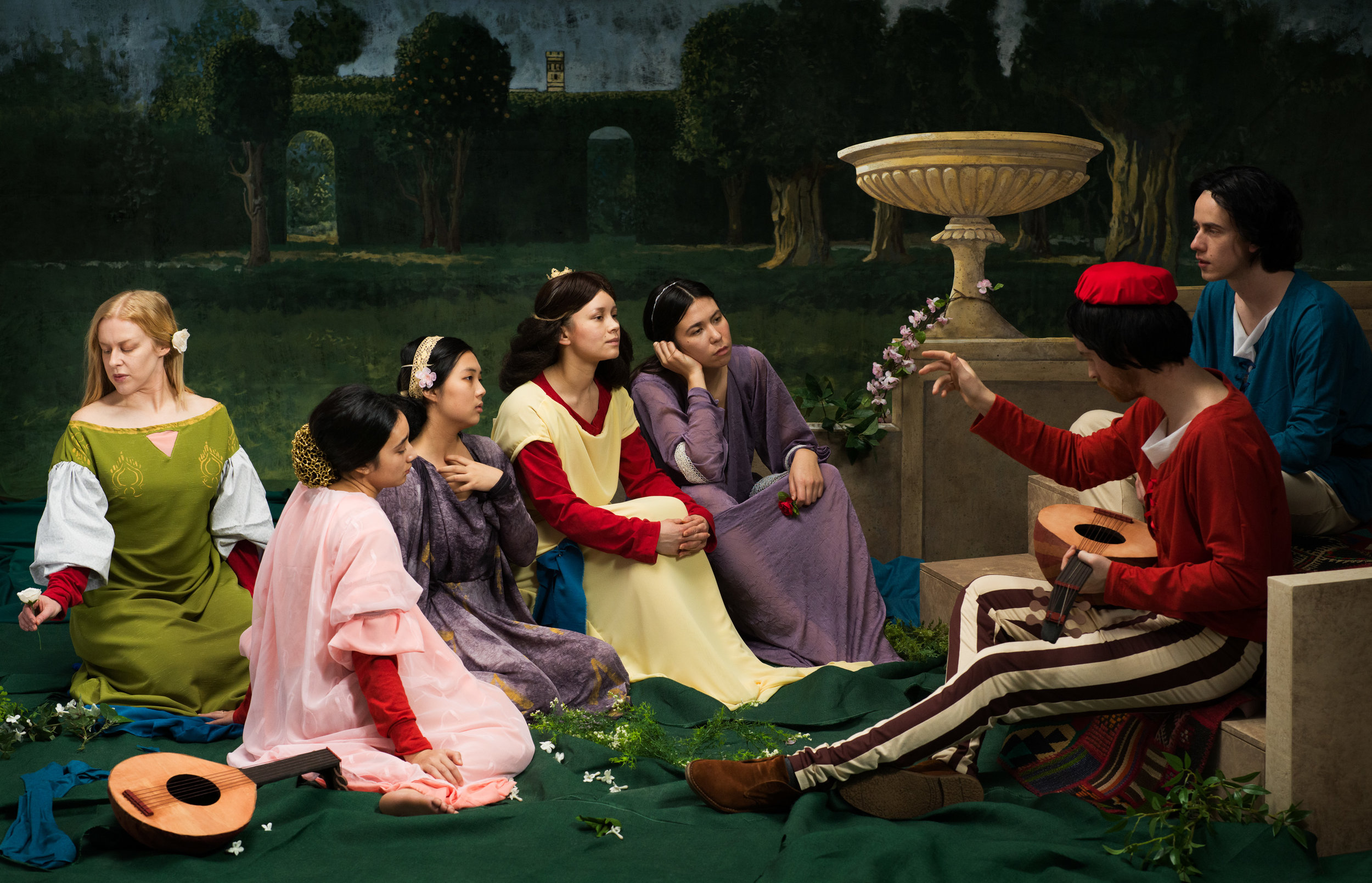 """The Decameron Retold (after The Decameron, John William Waterhouse)  2019, archival pigment print SMALL 24"""" x 37.25"""", MEDIUM 36"""" x 56"""", LARGE 48"""" x 74.5"""" All sizes combined edition of 5"""