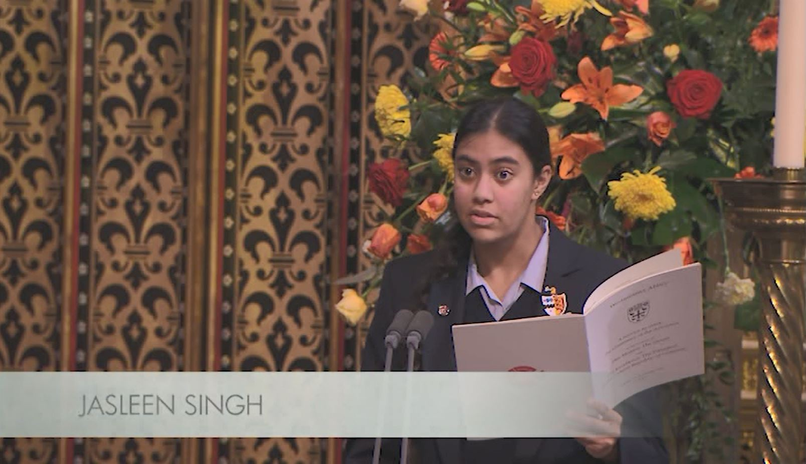 Jasleen reading a prayer at Westminster Abbey, live on the BBC