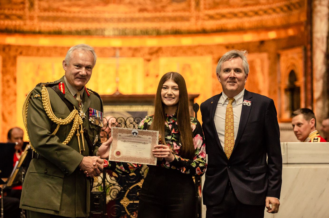 Lydia collected her certificate at the 2017/18 Awards Ceremony from General Sir Gordon Messenger, Vice Chief of Defence Staff, and Jono Hart of Dave Stewart Entertainment