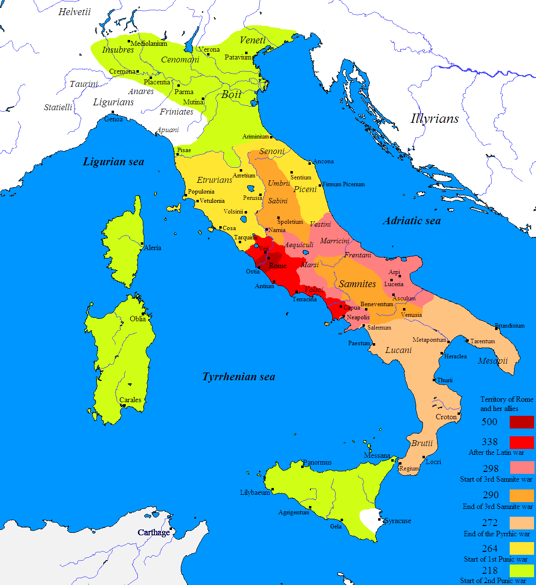 Map showing the expansion of Rome   Dark Red: 500 BCE Red: 338 BCE Pink: 298 BCE Orange: 290 BCE Yellow: 264 BCE (start of First Punic War) Green: 218 BCE (start of Second Punic War)
