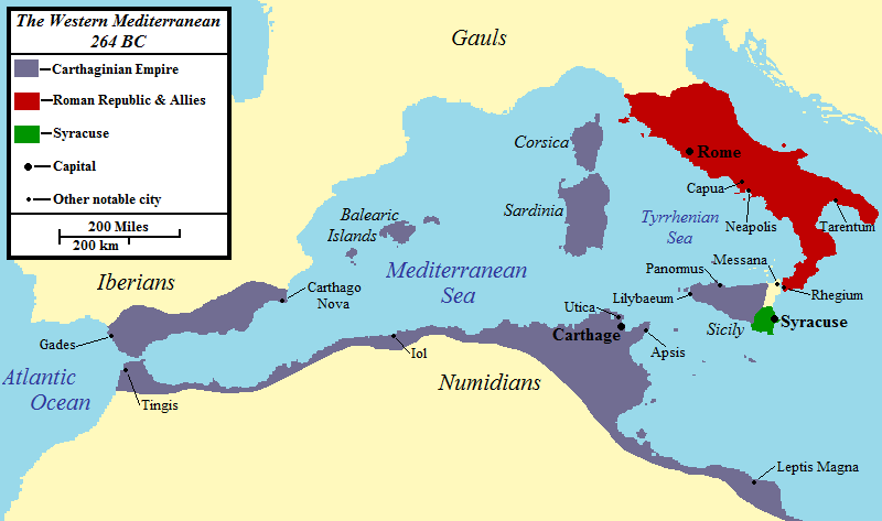 Map of the western Mediterranean at the time of the First Punic War in 264 BCE.   ©Original image by Jon Platek. Uploaded by Jan van der Crabben