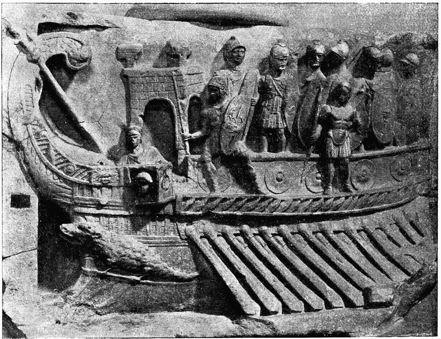 A Roman naval bireme depicted in a relief from the Temple of Fortuna Primigenia in Praeneste (Palastrina),[22] which was built c. 120 BC;[23] exhibited in the Pius-Clementine Museum (Museo Pio-Clementino) in the Vatican Museums.