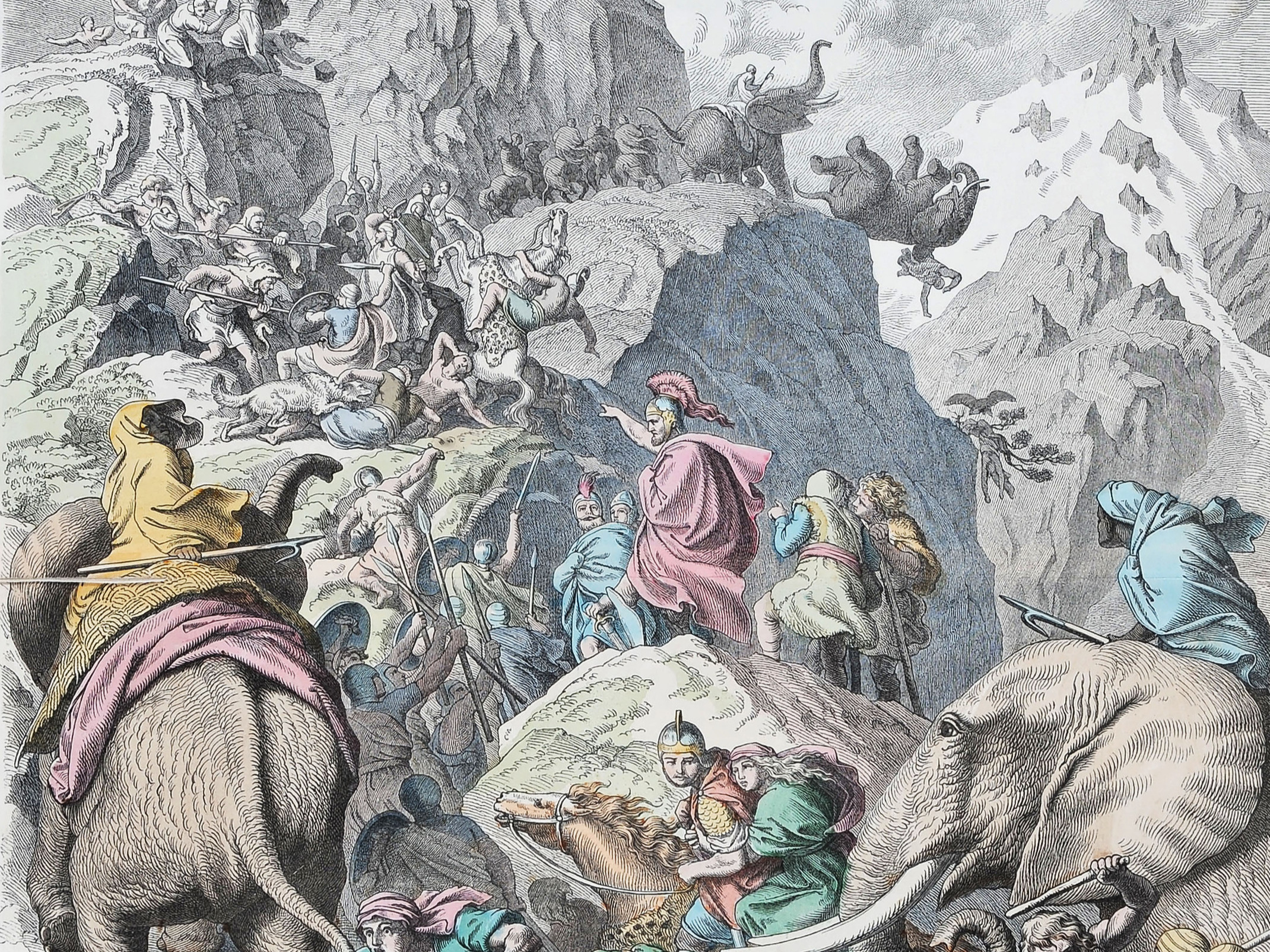 Hannibal and his men crossing thE ALPS
