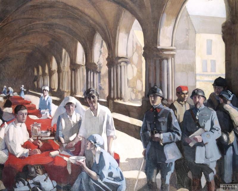 © IWM ART 3090 – Norah Neilson Gray, The Scottish Women's Hospital: In The Cloister of the Abbaye at Royaumont. Dr Frances Ivens inspecting a French patient