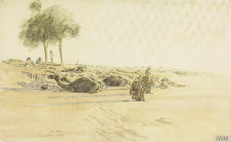 © IWM art 1439 - james mcbey, the long patrol: the wadi. an imperial camel corps patrol have halted in a wadi, a dried out riverbed, in the desert.