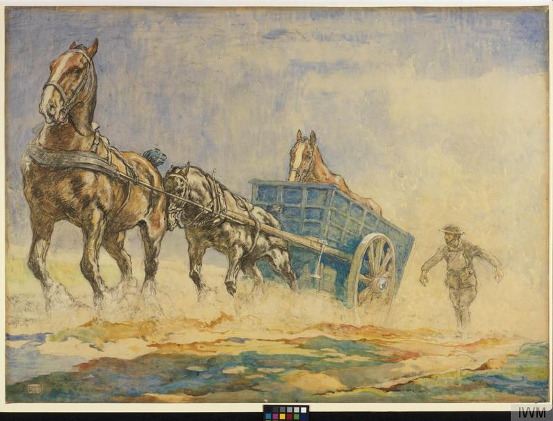 © IWM art 2922 edwin noble, a horse ambulance pulling a sick horse out of a field. two strong horses pull a deep cart over the brow of a hill. the bony frame of an ill horse can be seen standing in the cart. their hooves send up clouds of dust that cover the soldier who walks alongside.