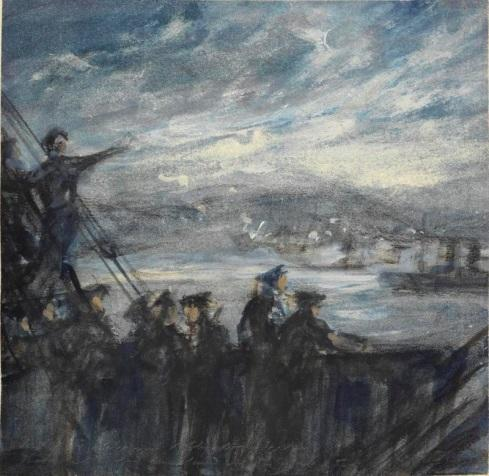 © iwm art 4279 the battle of the landings - anzac- night, april 25th 1915. Crew members of the hms manica stand on the deck of the ship trying to view developments on the shore at anzac cove on the western side of the gallipoli peninsula.