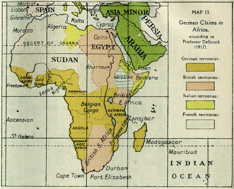 german claims in africa according to professional delbruck, 1917.