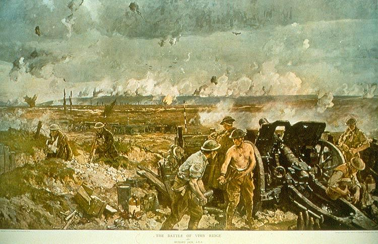 the taking of vimy ridge, easter monday, 1917. r. jack. canadian war museum.