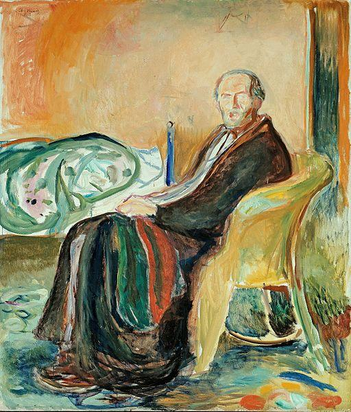 edvard munch, self portrait with spanish flu, 1919.