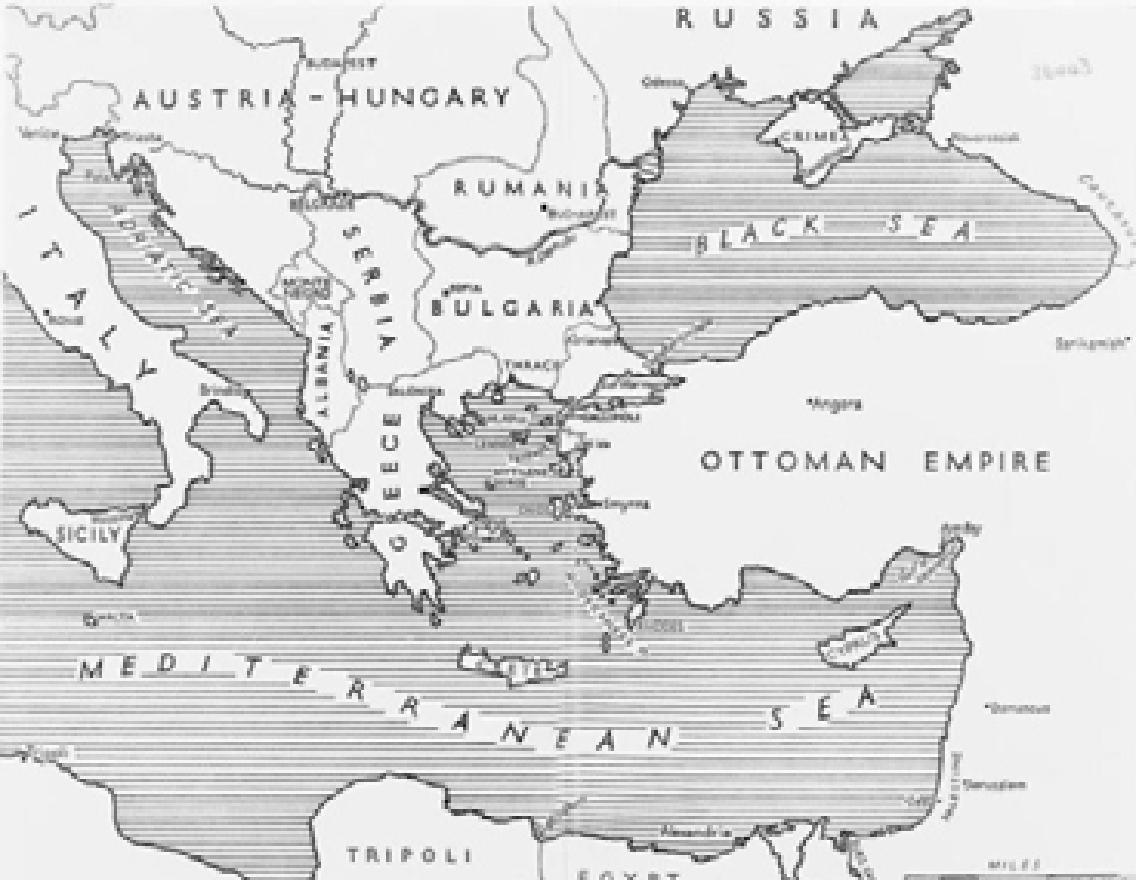 © IWM q 70561 - map of the eastern part of the mediterranean region.